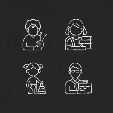 Aging process chalk white icons set on black background. Elderly woman. Schoolgirl. Female toddler. Middle-aged man. Old pensioner. Elementary education. Isolated vector chalkboard illustrations icon