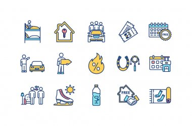 Budget tourism RGB color icons set. Hostel room. Renting apartment. Ride sharing. Hitchhiking. Public transport ticket. Hot discounts. Booking in advance. Home stay. Isolated vector illustrations icon
