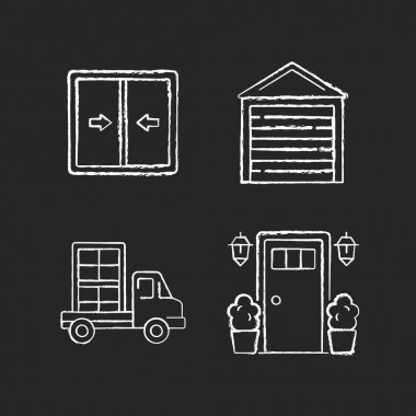 Replacement window opportunity chalk white icons set on black background. Sliding windows. Garage doors. Construction material delivery. Entry doors. Isolated vector chalkboard illustrations icon