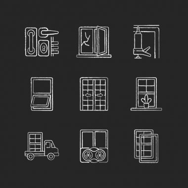 Window and door installations chalk white icons set on black background. Locks and levers. Fixing cracked sills and glass. Insulating barrier creation. Isolated vector chalkboard illustrations icon