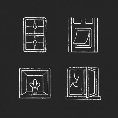 Installing windows and doors chalk white icons set on black background. Double-hung windows. Pet doors. Keeping indoor garden. Fixing cracked glass. Isolated vector chalkboard illustrations icon