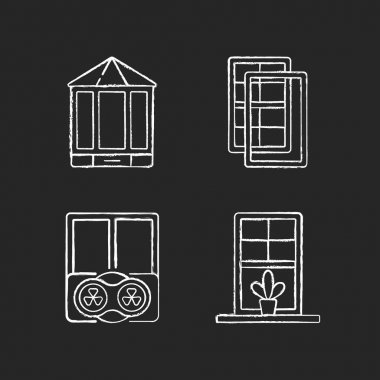 Doors replacement service chalk white icons set on black background. Bay and bow windows. Extra wind protection. Temperatures maintenance. Windowsills. Isolated vector chalkboard illustrations icon
