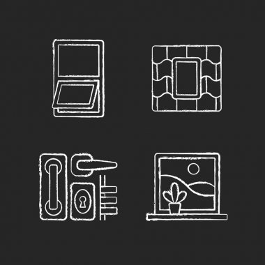 Windows replacement service chalk white icons set on black background. Awning windows. Venting skylight. Door hardware. Opening outward from bottom. Isolated vector chalkboard illustrations icon