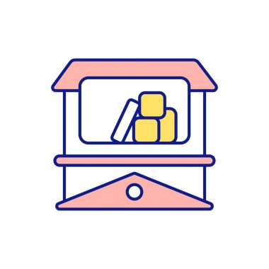 Cleansing storage space RGB color icon. Wardrobe, shelves and storage boxes. Additional closet. Tidying and cleaning up. Packing things. Shortage of space. Isolated vector illustration icon