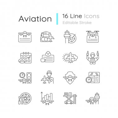 Aviation linear icons set. Civil aviation issues. Flight attendant license. Pilot training financing. Customizable thin line contour symbols. Isolated vector outline illustrations. Editable strokes icon