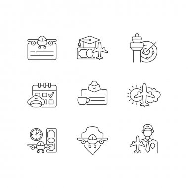 Aviation linear icons set. Air traffic control. Getting pilot license. Aviation safety. Aircraft rental. Customizable thin line contour symbols. Isolated vector outline illustrations. Editable strokes icon