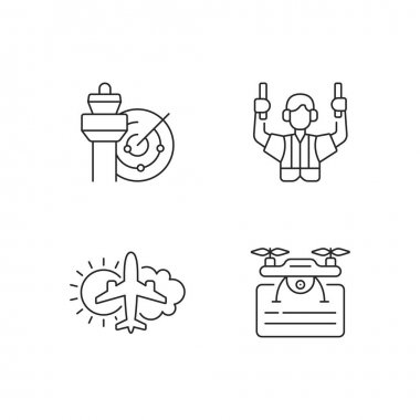 Flight dispatch linear icons set. Air traffic. Aeronautical meteorology. Flight safety guarantee. Customizable thin line contour symbols. Isolated vector outline illustrations. Editable strokes icon