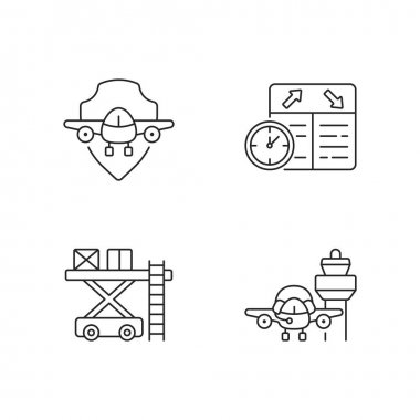 Civil aviation safety flights linear icons set. Flight scheduling. Aviation communication. Customizable thin line contour symbols. Isolated vector outline illustrations. Editable strokes icon