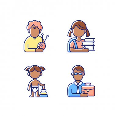 Aging process RGB color icons set. Elderly woman. Schoolgirl. Female toddler. Middle-aged man. Old pensioner. Elementary education. Toddlerhood. Preschool years. Midlife. Isolated vector illustrations icon
