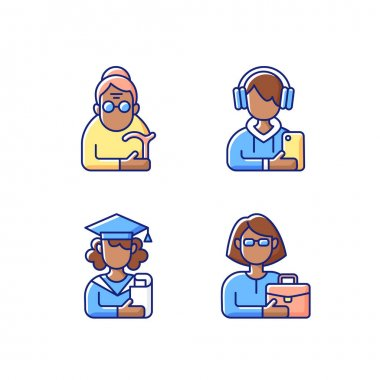 Age and gender differences RGB color icons set. Female pensioner. Male teenager. Adulthood. Senile woman. Adolescence. School stress, peer problems. Old-old age. Isolated vector illustrations icon