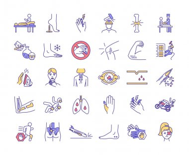 Physical trauma RGB color icons set. Body damage. Joint and bone infection. Eye trauma. Injuries in construction industry. Falls from heights. Massage therapy session. Isolated vector illustrations icon