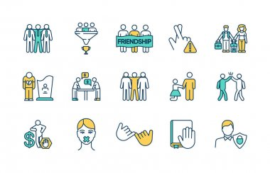 People relationships RGB color icons set. Friendly working connections. Friendship. Bereavement. Hand gesture. Gaining wealth. Reaching team goals. Keeping promises. Isolated vector illustrations icon