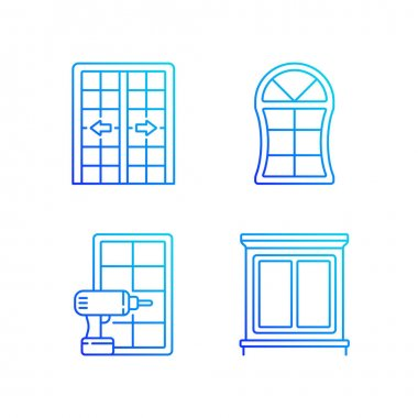 Replacement door opportunity RGB color icons set. Patio doors. Unique styles and features. Home improvement. Thin line contour symbols bundle. Isolated vector outline illustrations collection icon