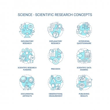 Science and scientific researching concept icons set. Scientific data sharing idea thin line RGB color illustrations. Scientific hypothesis. Vector isolated outline drawings. Editable stroke icon