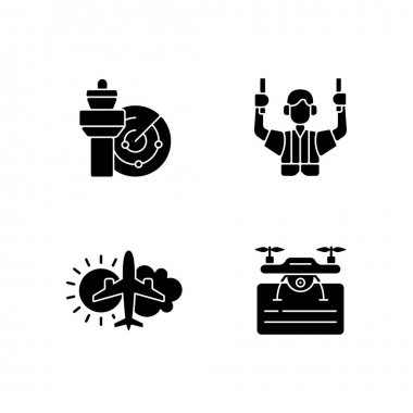 Flight dispatch black glyph icons set on white space. Air traffic control. Aeronautical meteorology. Drone license. Flight safety guarantee. Silhouette symbols. Vector isolated illustration icon