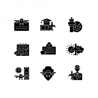 Aviation black glyph icons set on white space. Air traffic control. Getting pilot license. Aviation safety. Aircraft rental. aeronautical meteorology. Silhouette symbols. Vector isolated illustration icon