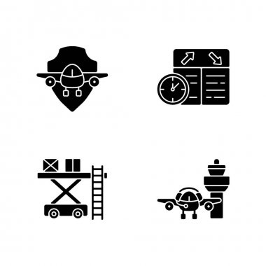 Civil aviation safety flights black glyph icons set on white space. Ramp services. Flight scheduling. Air traffic control. Aviation communication. Silhouette symbols. Vector isolated illustration icon