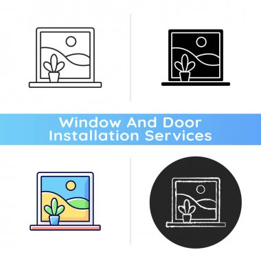 Picture windows icon. Large, fixed-pane window without glazing bars. Clear view without obstructions. Natural light access. Linear black and RGB color styles. Isolated vector illustrations icon