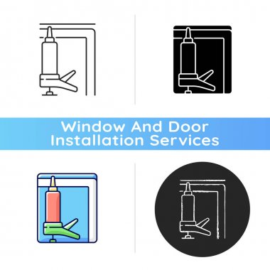 Window insulation icon. Heat, cooling loss reduction in house. Insulating barrier creation. Increasing energy efficiency. Linear black and RGB color styles. Isolated vector illustrations icon