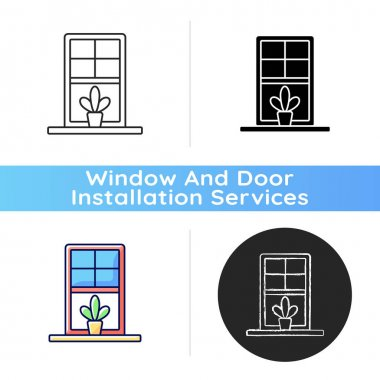 Windowsills icon. Window ledge. Horizontal structure, surface at window bottom. Structural integrity. Building architecture. Linear black and RGB color styles. Isolated vector illustrations icon