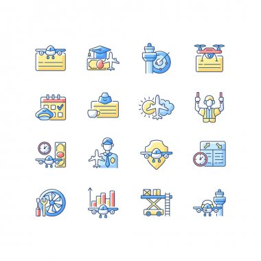 Aviation RGB color icons set. Civil aviation issues. Flight attendant license. Airlines management improvement. Pilot training financing. Aviation safety. Isolated vector illustrations icon