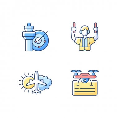 Flight dispatch RGB color icons set. Air traffic control. Airlines management improvement. Aeronautical meteorology. Drone license. Flight safety guarantee. Isolated vector illustrations icon