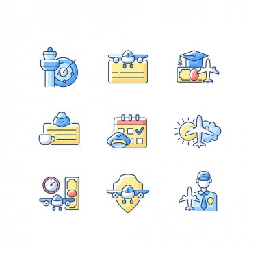 Aviation RGB color icons set. Air traffic control. Getting pilot license. Aviation safety. Airlines management improvement. Aircraft rental. aeronautical meteorology. Isolated vector illustrations icon