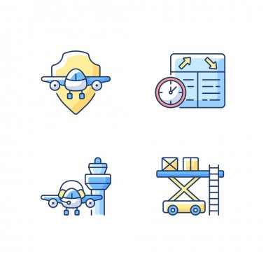 Civil aviation safety flights RGB color icons set.Ramp services. Flight scheduling. Airlines management improvement. Air traffic control. Aviation communication. Isolated vector illustrations icon