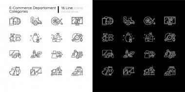 E commerce departments linear icons set for dark and light mode. Online shopping categories. Internet retail. Customizable thin line symbols. Isolated vector outline illustrations. Editable stroke icon