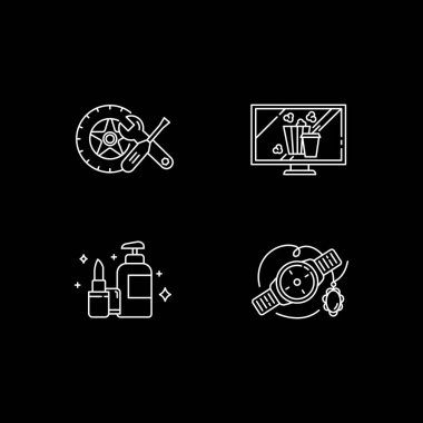 Online retail white linear icons set for dark theme. Car and auto parts. Home entertainment. Night mode customizable thin line symbols. Isolated vector outline illustrations. Editable stroke icon