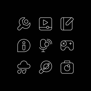 Smartphone interface white linear icons set for dark theme. Videos playing. Notebook application. Night mode customizable thin line symbols. Isolated vector outline illustrations. Editable stroke icon
