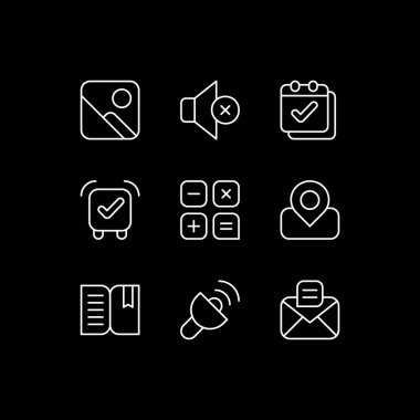 Smartphone interface white linear icons set for dark theme. Photo gallery. Silent mode setting. Night mode customizable thin line symbols. Isolated vector outline illustrations. Editable stroke icon
