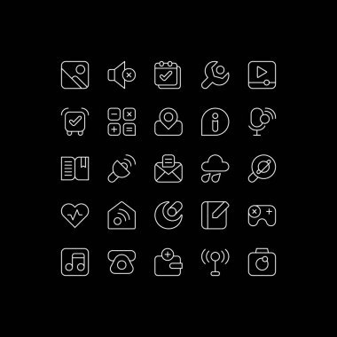 Interface white linear icons set for dark theme. Smartphones and tablets application. Settings menu. Night mode customizable thin line symbols. Isolated vector outline illustrations. Editable stroke icon