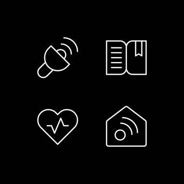 Mobile interface white linear icons set for dark theme. Lantern. Book reader. Health and wellness. Night mode customizable thin line symbols. Isolated vector outline illustrations. Editable stroke icon