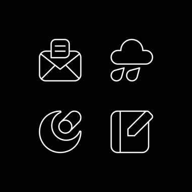 Mobile interface white linear icons set for dark theme. Message. Weather forecast. Night mode customizable thin line symbols. Isolated vector outline illustrations. Editable stroke icon