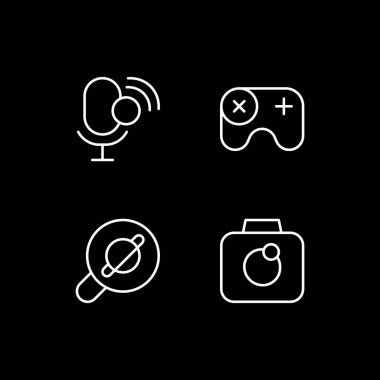 Mobile interface white linear icons set for dark theme. Intelligent personal assistant. Web browser. Night mode customizable thin line symbols. Isolated vector outline illustrations. Editable stroke icon