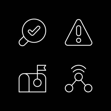 Modern interface white linear icons set for dark theme. Error message for application user. Night mode customizable thin line symbols. Isolated vector outline illustrations. Editable stroke icon