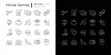 Film genres linear icons set for dark and light mode. Action comedy, drama movie. Cinema entertainment. Customizable thin line symbols. Isolated vector outline illustrations. Editable stroke icon