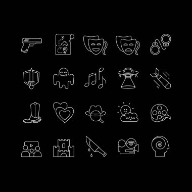 Different film genres white linear icons set for dark theme. Western movie, family picture, drama. Night mode customizable thin line symbols. Isolated vector outline illustrations. Editable stroke icon