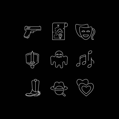 Movie genres white linear icons set for dark theme. Cinematography, filmmaking and cinema business. Night mode customizable thin line symbols. Isolated vector outline illustrations. Editable stroke icon