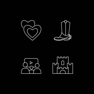 Cinema genres categories white linear icons set for dark theme. Romantic film. Western movie. Night mode customizable thin line symbols. Isolated vector outline illustrations. Editable stroke icon