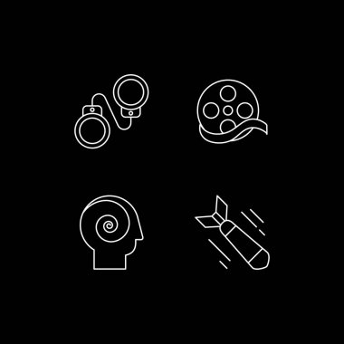 Movie genres categories white linear icons set for dark theme. Criminal drama. Documentary film. Night mode customizable thin line symbols. Isolated vector outline illustrations. Editable stroke icon