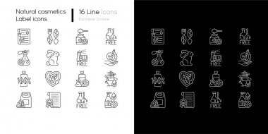 Natural cosmetic linear icons set for dark and light mode. Eco friendly beauty products. Skin care. Customizable thin line symbols. Isolated vector outline illustrations. Editable stroke icon