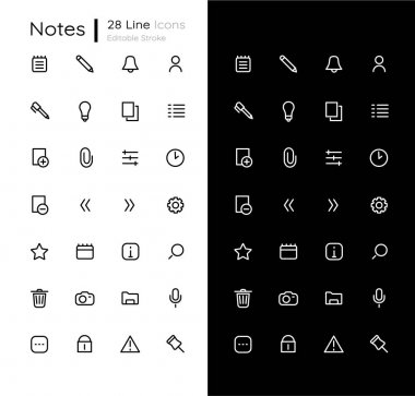 Notes linear icons set for dark and light mode. Add image file. Personal diary. Mobile UI interface. Customizable thin line symbols. Isolated vector outline illustrations. Editable stroke icon