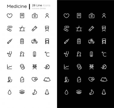 Medicine linear icons set for dark and light mode. Health care. Doctor consultation. Medical treatment. Mobile UI. Customizable thin line symbols. Isolated vector outline illustration. Editable stroke icon