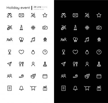 Holiday events linear icons set for dark and light mode. Party calendar. Birthday, wedding date. Customizable thin line symbols. Isolated vector outline illustrations. Editable stroke icon