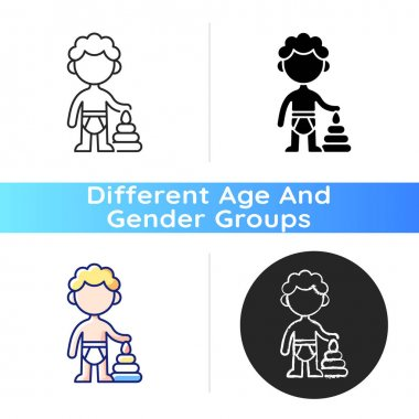 Male toddler icon. 1-2 years old. Child development. Preschooler. Early childhood. Physical growth. Learning through play. Linear black and RGB color styles. Isolated vector illustrations icon