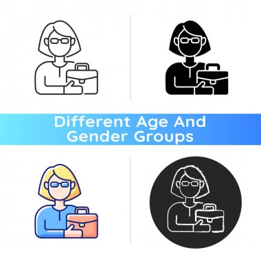 Female adult icon. Middle-aged woman. 35-40 years old. Adulthood period. Mentally, sexually mature. Fully developed, grown-up person. Linear black and RGB color styles. Isolated vector illustrations icon