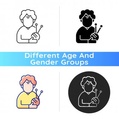 Elderly woman icon. Old female pensioner. 60-65 years old. Facial aging. Wrinkles, dullness. Disease conditions in elderly. Linear black and RGB color styles. Isolated vector illustrations icon
