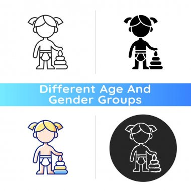 Female toddler icon. Toddlerhood. Preschool years. Cognitive, emotional and social development. 12 to 36 months old child. Linear black and RGB color styles. Isolated vector illustrations icon